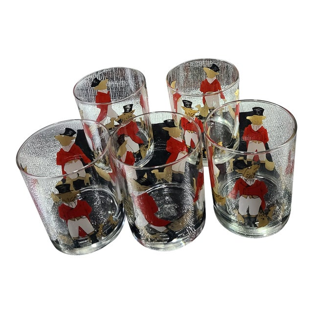 Signed Vintage Cera Snooty Fox & Hound Cocktail Tumbler Glasses- Set of 5 For Sale