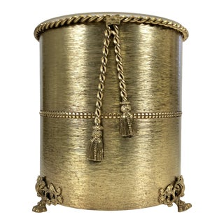 1960s Gilt Rope & Tassel Metal Wastebasket For Sale