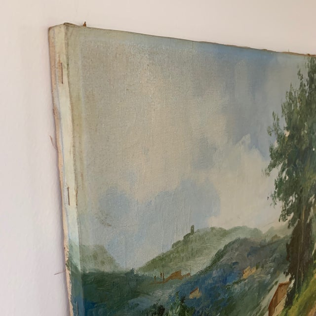 Canvas Mid-Century Mountain Valley Landscape, Oil on Canvas For Sale - Image 7 of 9