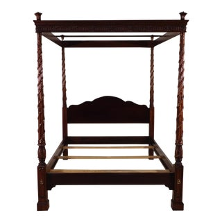 Hickory Chair Furniture Historic James River Collection Reed & Ribbon Queen Canopy Bed For Sale