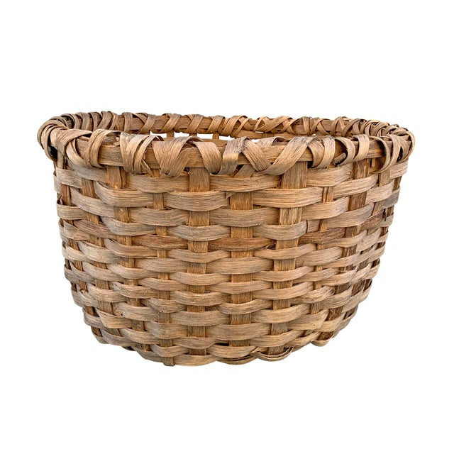 Massive 19th Century Oak Splint Wool Basket For Sale - Image 4 of 13