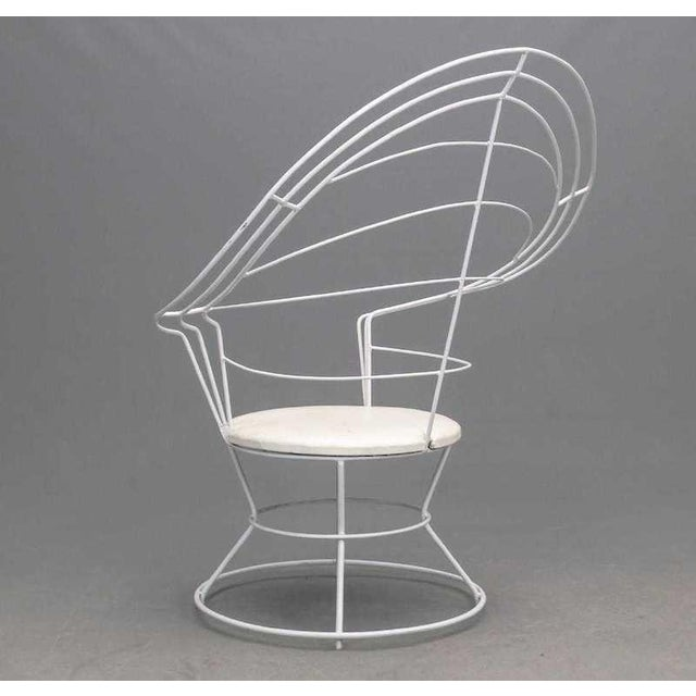 Large high-back wire modernist throne-style or peacock chair with vinyl seat. Most comfortable with pillow in the back-as...