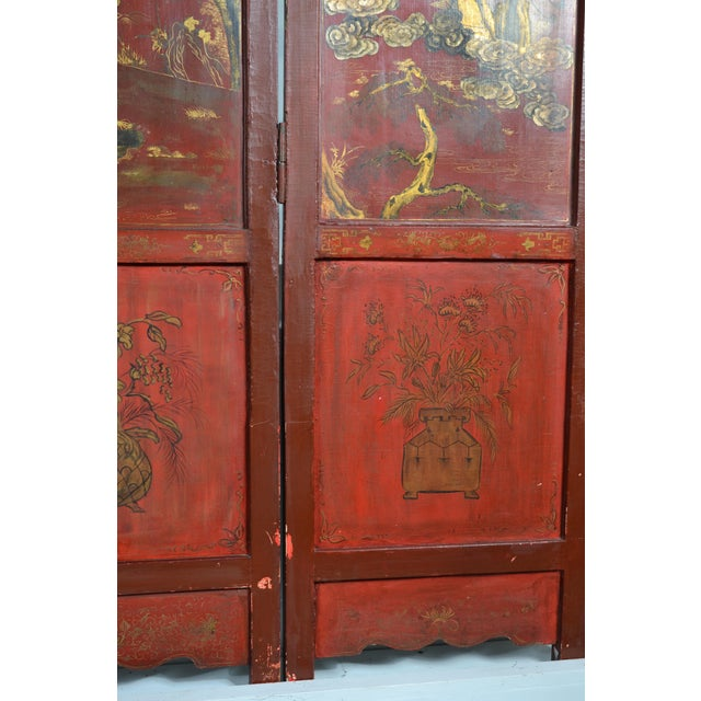 Hand-painted and gilded chinoiserie design on a gesso over wood 4-panel screen. Back (not pictured) is black lacquer....