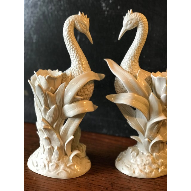 1970s Vintage Fitz and Floyd Ceramic Heron and Palm Leaf Candle Holder-Pair For Sale - Image 5 of 11
