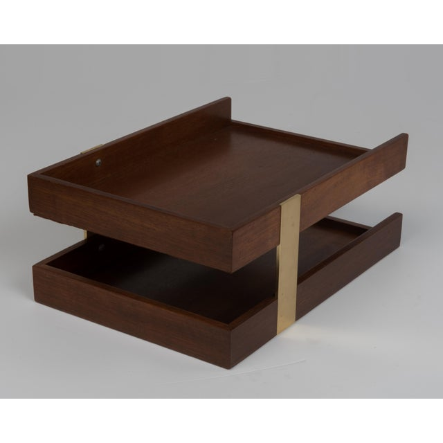 Vintage Mid Century Brass Walnut Office Two Tier Letter Tray Organizer For Sale - Image 10 of 11