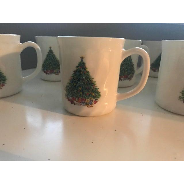Vintage French Salem Porcelle Christmas Mugs - Set of 8 For Sale - Image 5 of 5