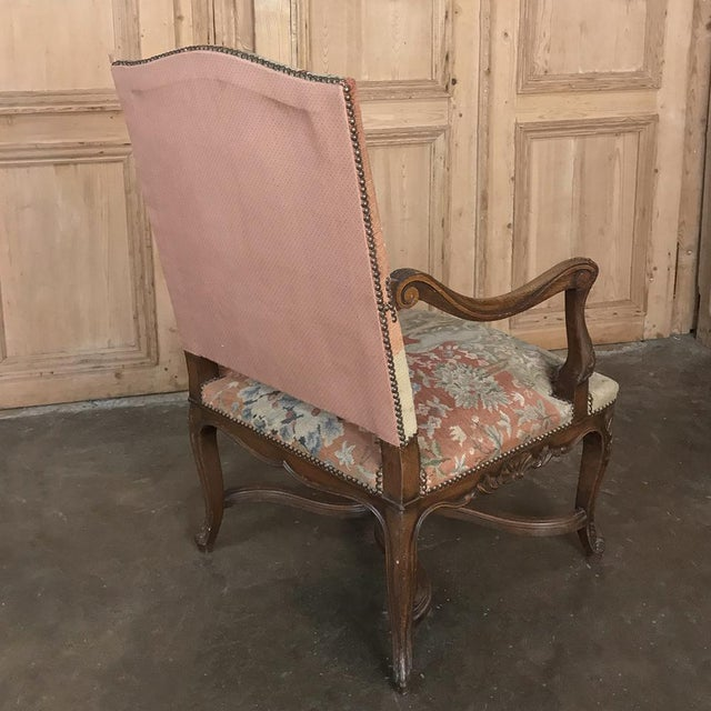 Pink 19th Century French Louis XV Armchair With Tapestry For Sale - Image 8 of 13