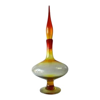 1960s Wayne Husted for Blenko Amberina Footed Decanter with Flame Stopper For Sale