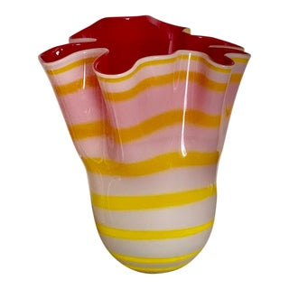 Modern Two Layer Red and Yellow Glass Vase For Sale