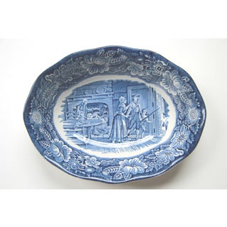 Liberty Staffordshire Transfer Ware Blue Oval Serving Bowl Preview