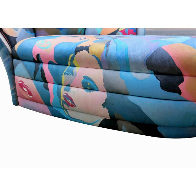 Blue Pop Art Hand Painted Chaise Lounge By Robert Fischer For Sale