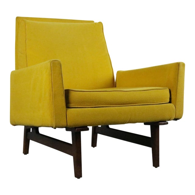 Rare Jens Risom 2118 Yellow on a Walnut Frame Lounge Chair For Sale