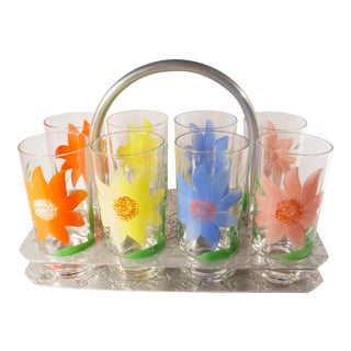 1960s Hand Painted Highball Glasses in Caddy - Set of 9 For Sale