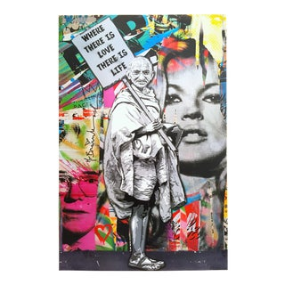 "Mr. Brainwash "" Gandhi Where There Is Love There Is Life "" Authentic Lithograph Print Pop Art Poster For Sale"