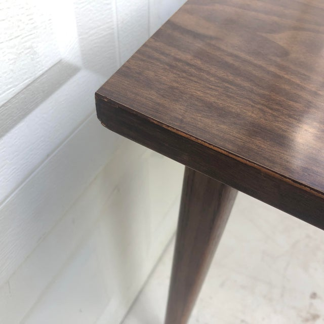 Brown Mid-Century Modern Dining Table With Leaf For Sale - Image 8 of 11