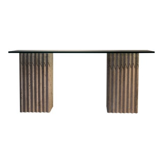 1970s Modernist Travertine Console Table For Sale