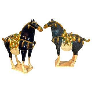 Pair of Chinese Export Large Pottery Blue Sancai Glazed Tang Style Horses For Sale