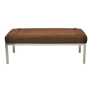 Mid Century Modern Chrome and Leather Bench For Sale