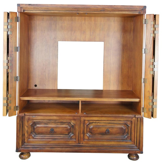English Brutalist Ralph Lauren Old World English Style Oak Sheltering Sky Armoire For Sale - Image 3 of 13