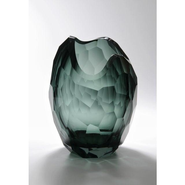 Modern Glacier Vase, Cyan For Sale - Image 3 of 3