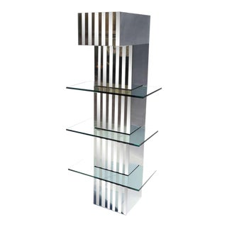 Mirrored Steel and Glass Lighted Hanging Display Unit For Sale