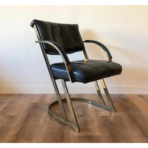Modern Cal-Style Vintage Modern Polished Chrome and Leather Cantilevered Dining Chairs- Set of 4 For Sale - Image 3 of 10