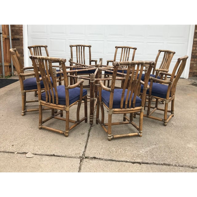 Brown Monumental McGuire Dining Set - 9 Pieces For Sale - Image 8 of 13