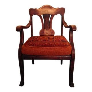 Antique Wood Armchair & Reversible Orange Cushion For Sale
