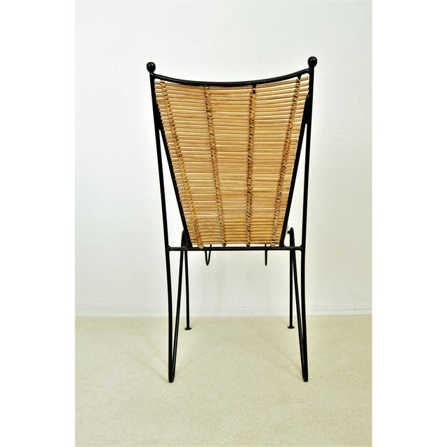 Ficks & Reed Mid-Century Organic Modern Bamboo & Rod Iron Chair Pencil Reed Rattan Albini Weinberg Style -- Tropical Boho Chic Mid Century Modern MCM For Sale - Image 10 of 11