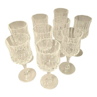 Cristal D'arques Durand Longchamp Pattern Stemware - Set of 9 For Sale