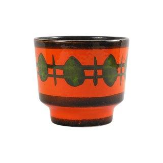 Mid-Century Modern Tangerine Ceramic Planter