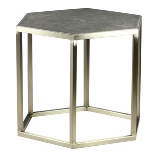 Sarreid Ltd Mallen Leather Side Table For Sale