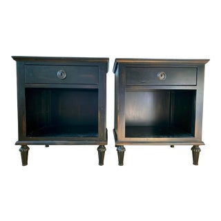 Maison 18th Century French Inspired Ebonized Open Nightstands - a Pair For Sale