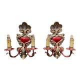 Image of Pair of Italian Carved Wood and Metal Gilt and Silvered Two-Light Wall Sconces For Sale