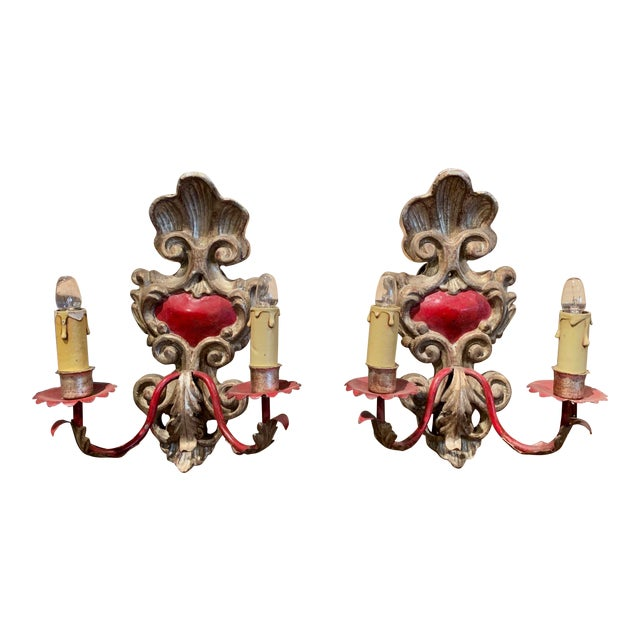 Pair of Italian Carved Wood and Metal Gilt and Silvered Two-Light Wall Sconces For Sale