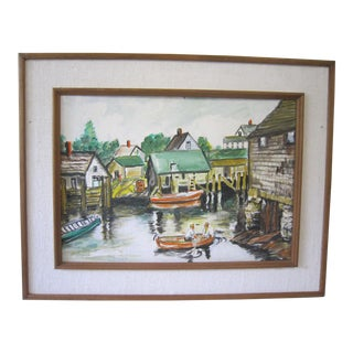 Vintage Mid-Century Nautical Framed Painting For Sale