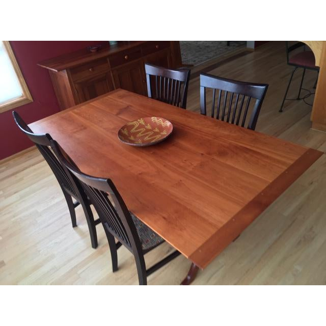 American Shaker Cherry Trestle Dining Table For Sale - Image 3 of 9