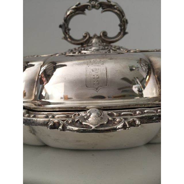Antique Sheffield Silver Plate Scroll Borders & Armorial Crest Serving Dish With Cover For Sale - Image 9 of 12