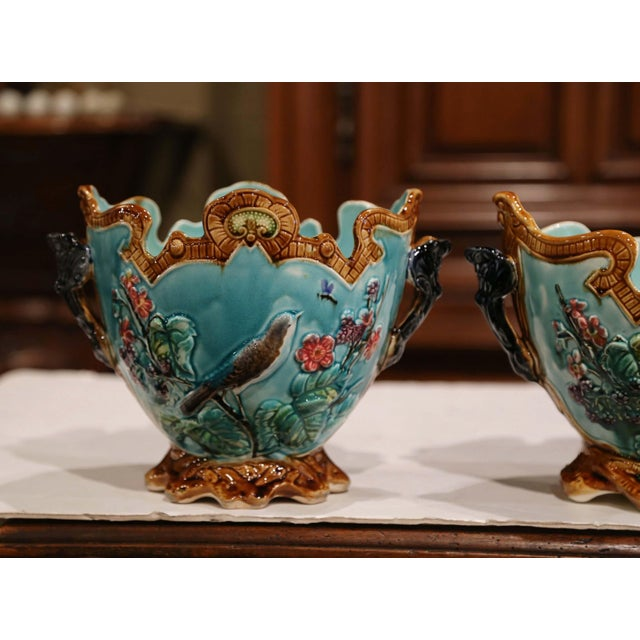 19th Century French Hand Painted Barbotine Cachepots With Bird and Flower Decor For Sale - Image 4 of 13