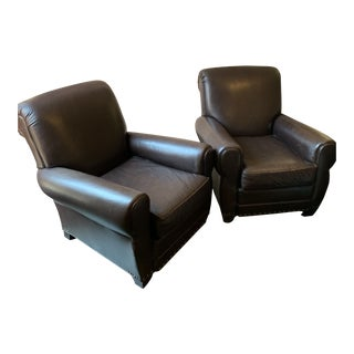 Mitchell Gold Brown Leather Club Chairs - A Pair For Sale