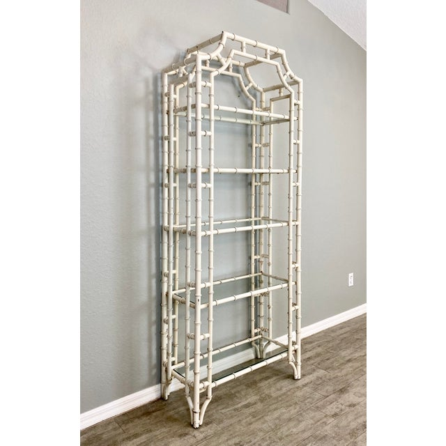 Vintage Chippendale Faux Bamboo Iron Etagere For Sale - Image 4 of 6