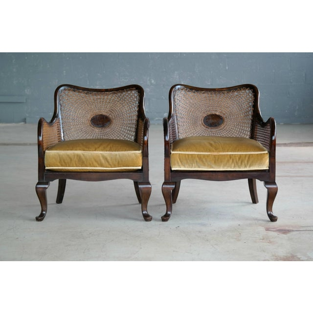 Pair of Danish Early 20th Century Caned Library Bergère Chair in Stained Birch - Image 3 of 10