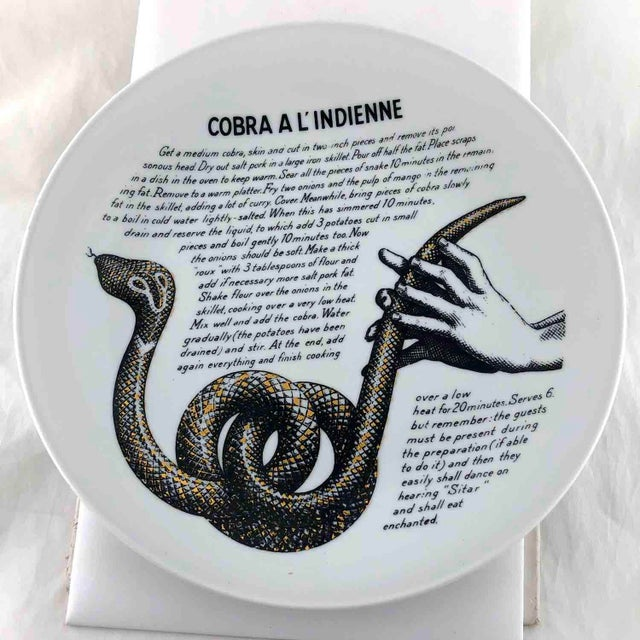 Black Piero Fornasetti 1960's Cobra a L'Indienne Improbable Recipe Plate for Fleming Joffe For Sale - Image 8 of 8