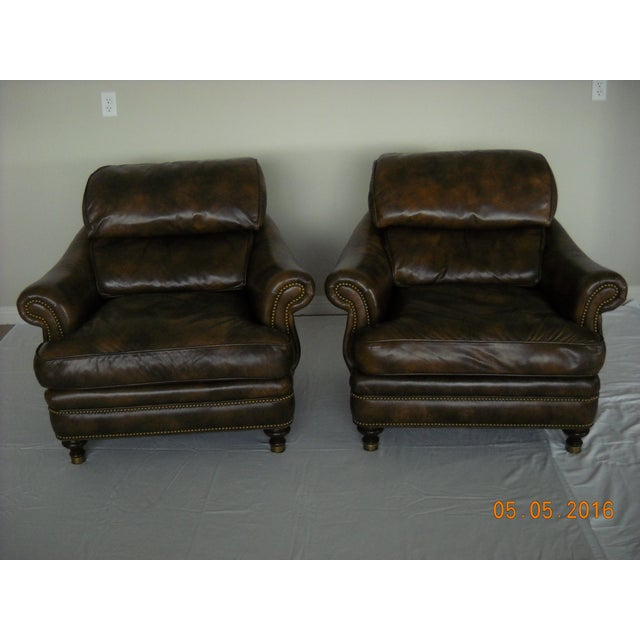 Custom Leather Chairs by Hancock & Moore - A Pair - Image 2 of 10
