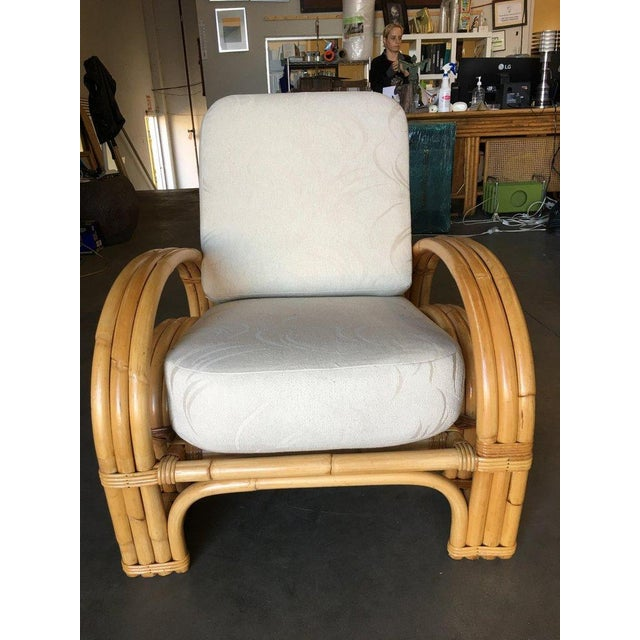 "Rattan Restored ""Double Horseshoe"" Rattan Three-Strand Lounge Chair For Sale - Image 7 of 9"
