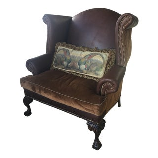 Leather Wingback Chair With Claw Feet Old Hickory Tannery For Sale