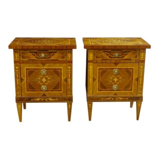 Pair of Italian Neoclassic Style 3 Drawer Chests For Sale