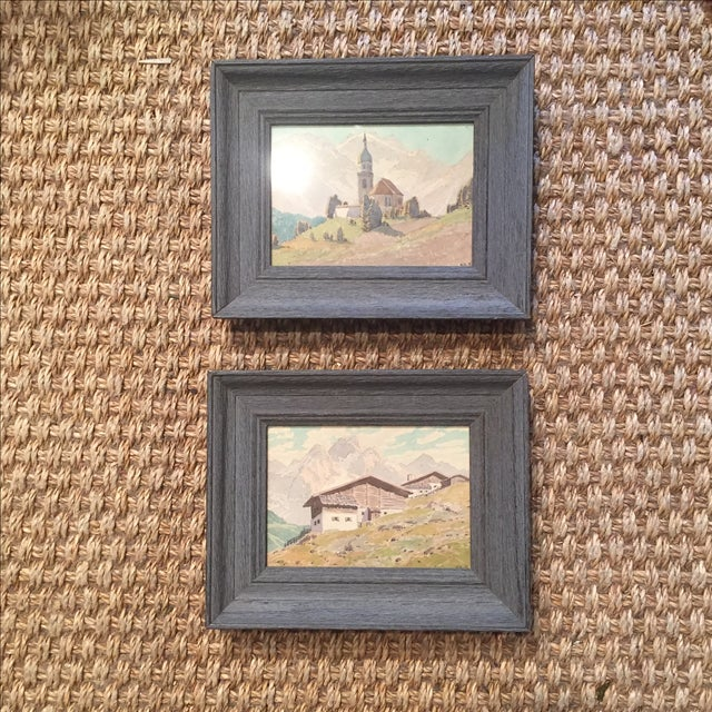 Pair of petite early 20th Century detailed watercolors of Continental mountainscapes. Signed KK. T.
