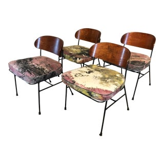 Paul Laszlo for Pacific Iron Walnut and Iron Chairs For Sale