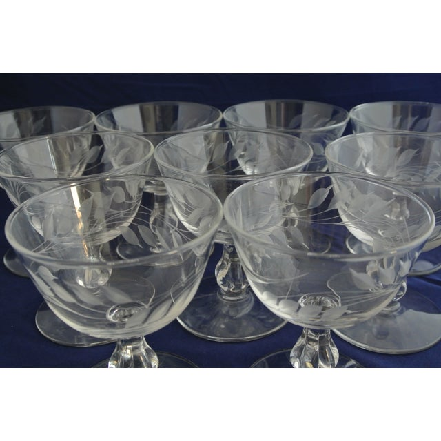 Crystal Antique Etched Crystal Champagne Coupes - Set of 9 For Sale - Image 7 of 11